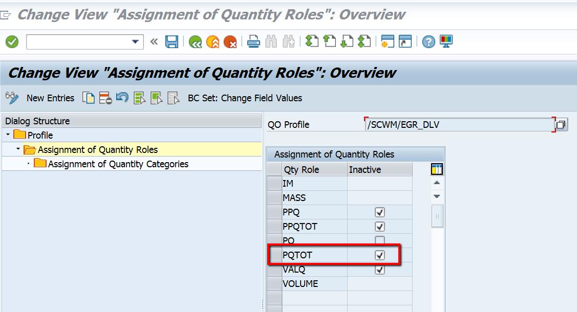Quantity Role Total Purchase Order Quantity (PQTOT) check in EWM